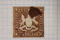 Germany Wurttemberg sc#13a dark brown used 1kr cv$725.00 ink blot cancel faulty