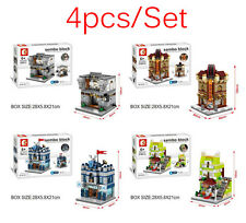 Mini Street View Building Block Have Light 4pcs/Set Police officeBank Cinema