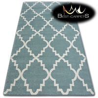 AMAZING THICK MODERN RUGS SKETCH Morocan Trellis TURQUOISE CREAM F343 LARGE SIZE