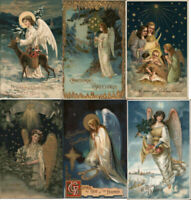 Beautiful~Lot of 6 Christmas Angels~Antique Embossed Xmas Angel Postcards~h384