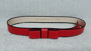 KATE SPADE - BOW BUCKLE - Women's Fashion Belt - RED Leather - Size XL