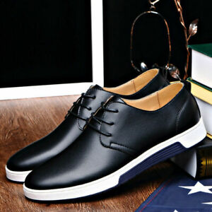 New British Men Casual Genuine Leather Shoes Lace-up Sneakers Oxford