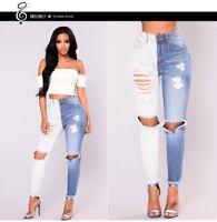 femmes Slim Ripped trou jeans taille haute Pantalon denim crayon pantalons MODE