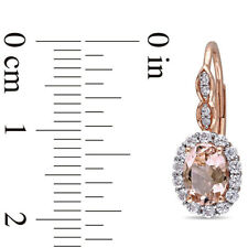Oval Morganite & White Topaz Rounds And Simulated Diamond Accent Drop Earrings