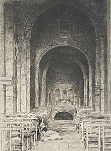 La prière église de Provence pointe sèche de Burnand 1884 France