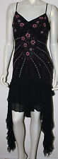 SUE WONG Black Silk Layered Fairy Dress Pink Floral Embellished Beaded S M