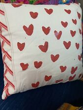 Pair Of Red love heart cushion covers cream background 100% cotton Zip fastening