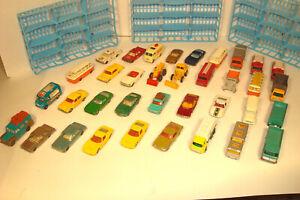 LOT OF 36 VINTAGE LESNEY MATCHBOX CARS AND TRUCKS PLUS 3  CAR BASKETS ,NO CASE
