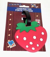 """On THE GO Soft Vinyl Luggage Tag Purple STRAWBERRY 3.5"""" New On Card"""