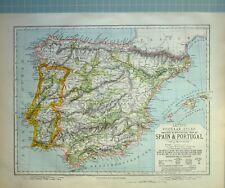 1881 LETTS MAP SPAIN & PORTUGAL CASTILLA NUEVA ARRAGON ASTURIAS LEON GRANADA