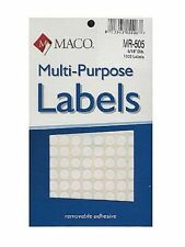Maco White Round Multi-Purpose Labels 5/16 Inches in Diameter 6pack Mr505