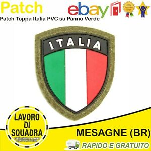 Patch Toppa PVC Scudetto ITALIA Verde Tricolore Gomma Softair Uniforme Militaria