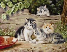 UNOPENED Needlepoint Embroidery KIT Petit point Gobelin Luca-S G556 Kittens Cats