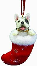 FRENCH BULLDOG in Stocking Christmas Ornament-Santa's Little Pals-by E&S Pets