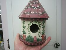 Round Wooden Birdhouse beautifully painted 8 1/2'' tall