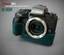 LIM'S Genuine Italy Leather Camera Half Case Cover For Canon EOS M5 - Navy