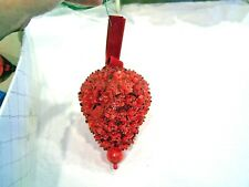 Red strawberry Christmas ornament, cover in sequins and beads