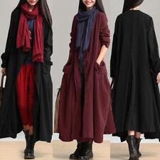 ZANZEA Damen Langarm Oversize Cardigan Lange Maxijacke Open Pront Coat Plus Size