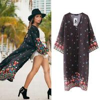 AU Plus Size Womens Loose Floral Chiffon Beach Ladies Kimono Cardigan Blouse Top