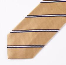 """New E.MARINELLA NAPOLI Gold-Brown-Navy Ribbon Stripe Classic 3.5"""" Silk Tie"""