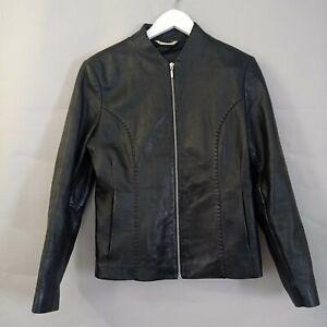 George Ladies Leather Jacket UK 14 Black Biker Fitted Collarless Smart Casual
