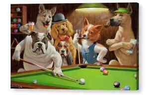 Dogs Playing Pool  The Hustler Canvas Picture Photo  Fine Art Print