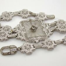 """Antique Vintage 10K White Gold Art Deco Natural Diamond Accent Bracelet 6.25"""""""