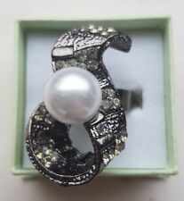 Grey Tone Adjustable Faux Pearl Diamante Ring