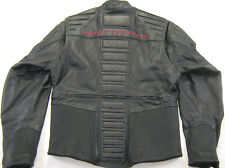 men's HARLEY DAVIDSON Leather Jacket EMBOSSED Ribbed EMBROIDERED M Medium ZIP UP