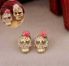 Women Punk Jewelry Studs Pink Rose Rhinestone Skeleton Skull Ear Earrings