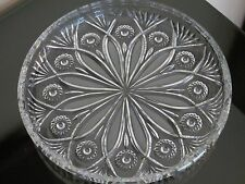 VINTAGE PRESSED GLASS SERVING PLATE / DISH EXTREMELY HEAVY
