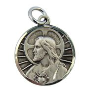"Sterling Silver Jesus Christ His Most Sacred Heart 3/4"" Round Scapular Medal"