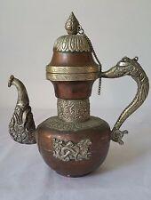 Vintage Old Copper / White Metal Chinese Dragon Wine Tea Pot Flagon Collectible