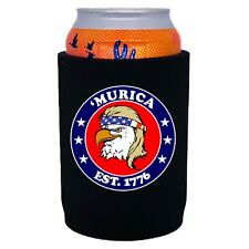 Murica 1776 Full Bottom Neoprene Can Coolie;Non-Skid Bottom, bald, eagle, mullet