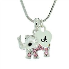 Elephant Letter Heart Pink Charm Pendant Made With Swarovski Crystal Necklace