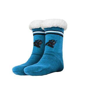 Carolina Panthers Women's Stripe Logo Tall Footy Slippers - Size 6-10 Non Skid