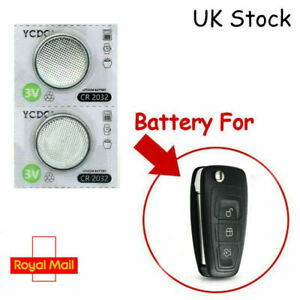 2 x Ford Transit Custom 3 Button Remote Battery Fob Key CR2032 New Replacement