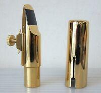 Gold Plated Alto Saxophone Mouthpiece +Ligature/Cap, #6
