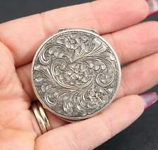 Small Antique Hallmarked Italian 800 Silver Hand Chased Trinket Pill Box, NR