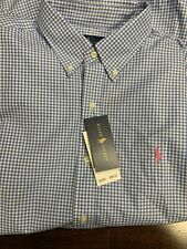 NWT POLO RALPH LAUREN Men's Baby Blue Gingham Plaid L/S Pony SPORT SHIRT Sz L