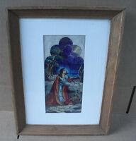 Vintage Artist Painting Sketch of Jesus for Stained Glass Framed LOOK