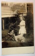 1913 Photo Postcard LITTLE GIRL TOY DOLL DOG BABY STROLLER Vintage Antique USA