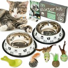 Cat Bowl Set - Includes 2 Bowls, 4 Toys & 1 Cup for Food, Alimentation...