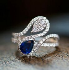 Valentines 2Ct Pear Cut Blue Sapphire Simulnt Diamond Ring White Gold Fns Silver