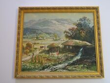 FINE IMPRESSIONIST PAINTING ASIAN VIETNAMESE? CHINESE? SIGNED LANDSCAPE VILLAGE