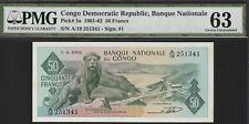 Congo Dem,Repub,50 Francs Banknote,1.4.1962,Choice Uncirculated Grade-63,Cat#5-A