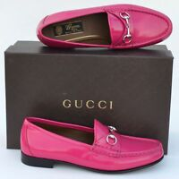 GUCCI New sz 37 - 7 Authentic Designer Womens Horsebit Flats Loafers Shoes Pink