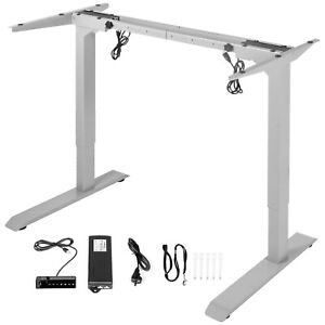 Electric Standing Desk Frame Sit Stand Motorized Height & Width Adjustable Gray