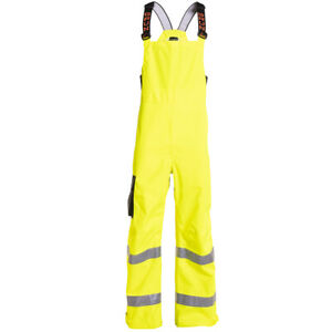 Grundens Weather Watch Bibs Trousers ANSI Class E Hi-Vis Yellow Gage Rain Gear