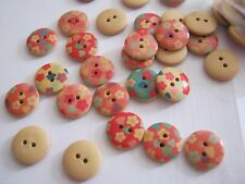 Wooden Decorated Buttons - 20 per pack **NEW**  PRETTY FLORAL [B10]]